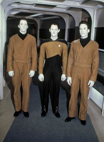 """Williams (center) and two other Data doubles in """"Datalore"""""""