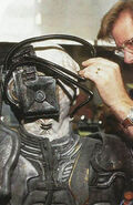 Bradley Look attaches tubes to Borg actor