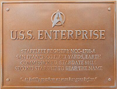 Raumschiffsammlung Widmungsplakette Enterprise (NCC-1701-A)