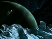 Unnamed planet and frozen moon (Voyager opening credits)