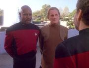Benjamin Sisko, Odo, and Leyton