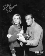 Sally Kellerman, Elizabeth Dehner, William Shatner James Kirk