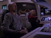 Sisko und Akorem warten auf Propheten