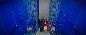 Sarek and Amanda blue stairway
