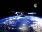 USS Enterprise-D im Orbit der Erde