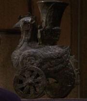 Bird on wheels sculpture