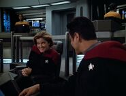 Janeway and Chakotay joking