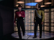 Riker and Worf beamed aboard