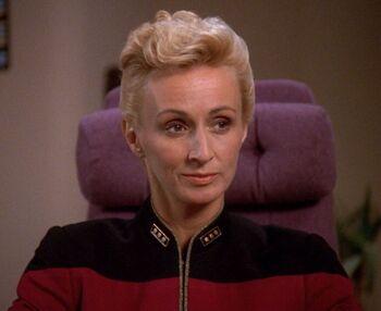 Nechayev aboard the <i>Enterprise</i>-D (2369)