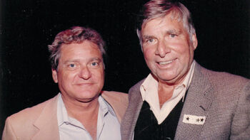 "...celebrating Star Trek's 20th anniversary with his former boss <a href=""/wiki/Gene_Roddenberry"" title=""Gene Roddenberry"">Gene Roddenberry</a> (r) in 1986"