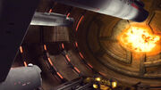 Tholian asteroid dock damaged by the USS Defiant