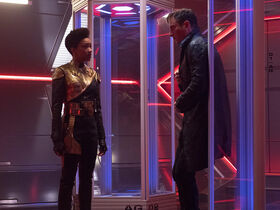Gabriel Lorca and Michael Burnham at an agony booth