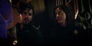 Tyler and Cornwell aboard Klingon Sarcophagus