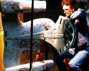 USS Enterprise-D six-foot studio model stripped for refurbishment and repairs