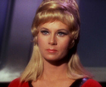 "Yeoman Janice Rand in <a href=""/wiki/2266"" title=""2266"">2266</a>"