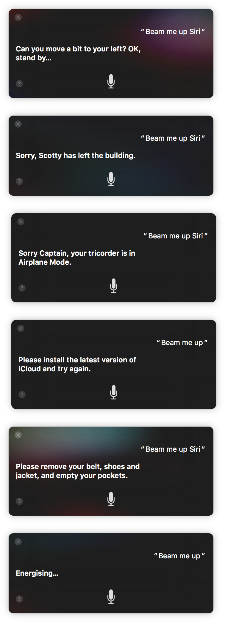 Beam me up, Siri