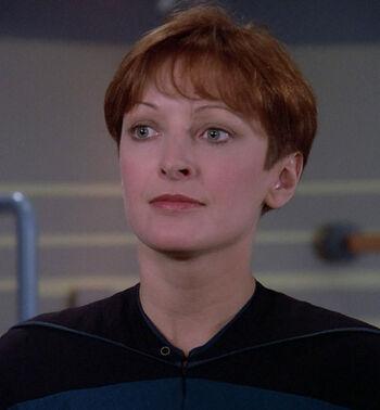 "Lorinne Vozoff as Miss Gladstone on ""Star Trek: TNG"""