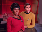 Odo, Uhura, and Chekov, 2268