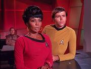 Odo, Uhura, and Chekov, 2268