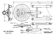 Constitution-class USS Enterprise NCC-1701 finalized plan views by Matt Jefferies