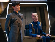 Saru and Sarek on the bridge of the USS Discovery