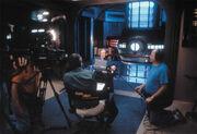 Stephen Hawking interviewed on set