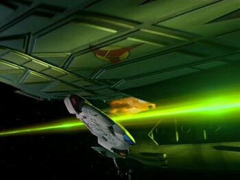 The <i>Defiant</i> attacking the Regent's flagship (2375)
