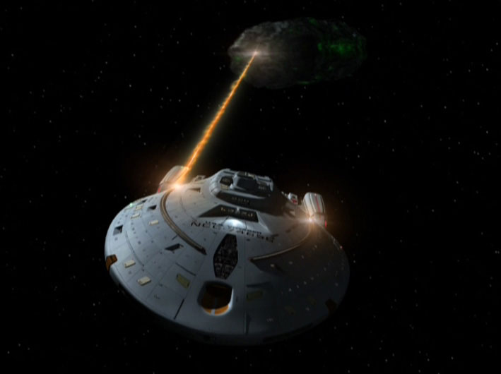 USS Voyager fights Borg probe