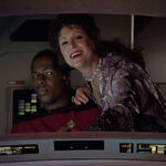 Lwaxana Troi aboard a shuttle