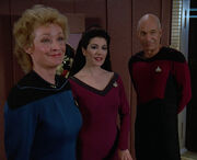 Pulaski meets with Troi and Picard
