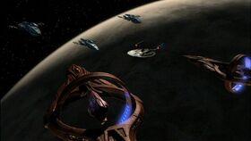 Andorian warship-Enterprise-Vulcan cruiser standoff