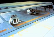 Berman and Piller in Enterprise-D main shuttlebay studio model by Ed Miarecki