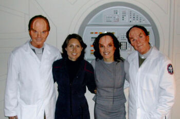 "Flux with fellow background performers on set for ""Cold Station 12"""