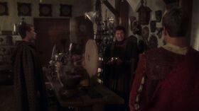 Archer and Trip in Garos' shop