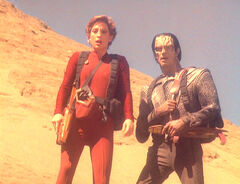 Kira and Dukat look for wreckage
