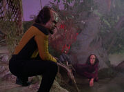 Worf and K'Ehleyr on holodeck