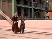 Janeway and da vinci outside the storage facility