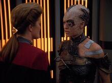 Seven of Nine confronts Janeway