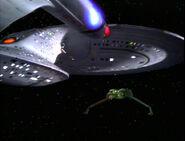 Enterprise-D facing a Bird of Prey, original