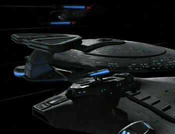 The USS <i>Bonchune</i> surrounded by the USS <i>Prometheus</i>