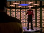 Picard prepares to beam to Bok's ship