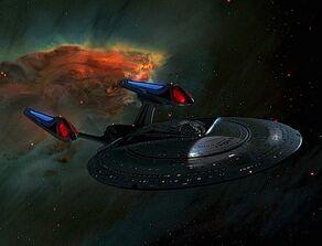 USS Enterprise-E in nebula