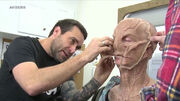 Doug Jones in the makeup chair