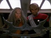 Kor and Worf regard the Sword of Kahless