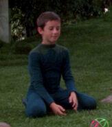 Boy in arboretum