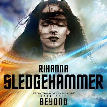 "Rihanna on the cover of ""Sledgehammer"""