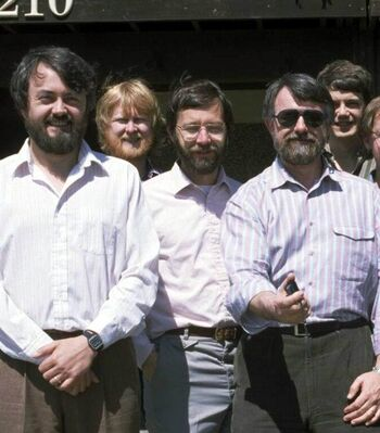 """Catmull (center) with part of the """"Genesis Demo"""" team in 1984"""