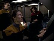 Harren, Celes, Telfer, and Janeway aboard Delta Flyer