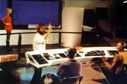 Robert Abel directing test footage of the Enterprise bridge