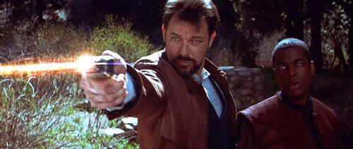 Riker shoots Cochrane